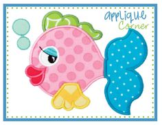 Fish with Bubbles applique digital design for embroidery machine by Applique Corner on Etsy, £2.44