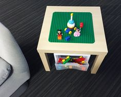 Encourage your little one to keep playtime tidy. Create this DIY table to organize and store all their LEGO® DUPLO® building bricks!
