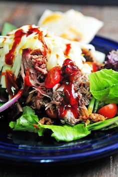 Pulled Pork Enchilada Salad Recipe from addapinch.com