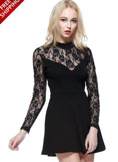 Back Long Sleeve Lace Dress  www.ustrendy.com #UsTrendy
