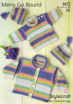 Stylecraft--Sweater, Cardigan, and Hat (preemie - age 4)