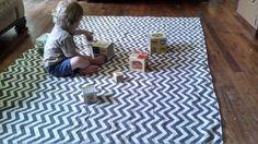 Waterproof Baby Play Mat or PICNIC BLANKET - 60 x 80 - Gray Chevron