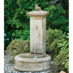 Proudly constructed in the USA from premium cast stone concrete. Springtime Column Garden Fountain is available in your choice of classic and distinct Rococo Finishes, each applied by hand.