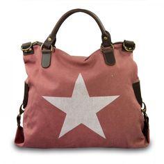 mynewbag.de - #IO.IO.MIO. Ital. Damentasche Leder Canvas Mix großer #Shopper #Stern terra weiß