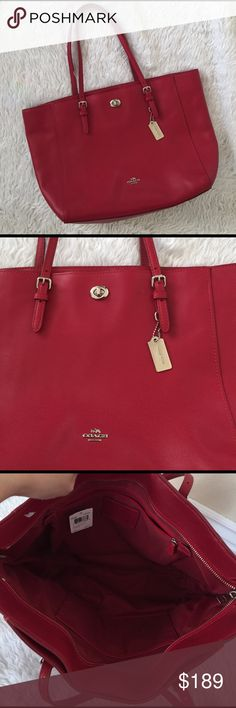 💯Coach XL Turnlock Tote in Red wiTh Silver Tag💯 💯🌺❤️Coach XL Turnlock Tote in red with silver Coach Tag and silver hardwares. Price Tag is attached but it is definitely pre-loved. It is clean inside and outside with minimal signs of wear. Pet free smoke free home. ❌ trade. This bag is still currently listed at Major department stores for $295. All reasonable offers welcome. Thank you 🌺🌸💯 Coach Bags Shoulder Bags