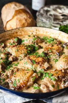 Coq au Chardonnay (Chicken in white wine and cream sauce) #chickenchardonnay White Wine Chicken, Cream, Drinks, Drinking, Custard, Beverages, Drink, Sour Cream, Lotion