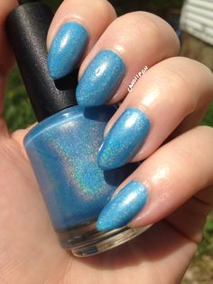 What A Beach -Neon Blue Holographic Nail Lacquer ~LIMITED EDITION by PaintShopPolish on Etsy