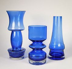 Riihimaen Lasi Oy / Riihimaki Glass Vases designed by Tamara Aladin and Aimo Okkolin (on right) 1970s 11'' (Psychoceramicus) Tags: green glass vintage finland design still tamara nanny retro vase finnish 1970s aladin scandinavian vases oy lasi riihimki riihimaki riihimen riihimaen
