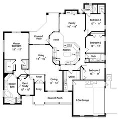 Floor Plans AFLFPW20100 - 1 Story Country Home with 4 Bedrooms, 3 Bathrooms and 2,792 total Square Feet