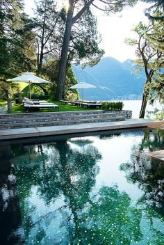 Gorgeous lakeside pool.