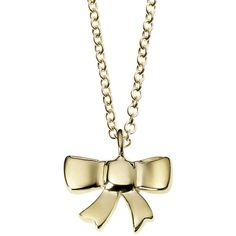 Minor Obsessions Mini Bow Necklace - 10 Karat Gold (450 CAD) ❤ liked on Polyvore featuring jewelry, necklaces, gold, yellow gold chain necklace, long charm necklace, long gold necklace, charm necklaces and long necklaces