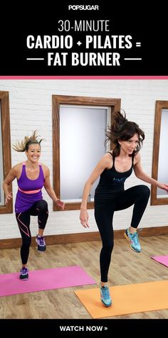 Mixing pilates, cardio and weights makes for the ultimate fat-burning workout! Press play to start torching calories.