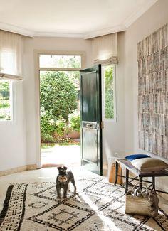 Recibidor, alfombra estampados oscuros y perro