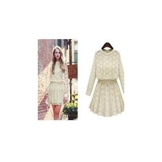 Lace Waist Long-Sleeved Dress ($25) ❤ liked on Polyvore featuring dresses, women, white dress, day dresses, long sleeve day dress, white day dress and white longsleeve dress