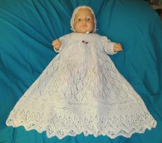 Knitting: Foliage Lace Christening Gown