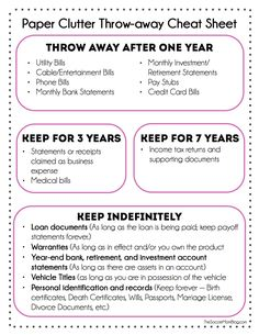 How to Get Rid of Paper Clutter at Home FREE Printable what you can toss and what you actually need to keep. Finally get a grip on all that paper! The post How to Get Rid of Paper Clutter at Home appeared first on Paper ideas. Organisation Hacks, Organizing Paperwork, Paper Organization, Life Organization, Organising, Organizing Paper Clutter, Organizing Life, Filing Cabinet Organization, Paper Storage