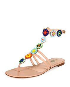 Beaded+Medallion+Thong+Sandal,+Skin+Sorbet+by+Valentino+at+Bergdorf+Goodman.