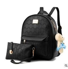 New Women Backpack For Girls PU Leather Backpacks Black Backpacks Female Fashion Girls Bags Ladies Backpack + Small Bags