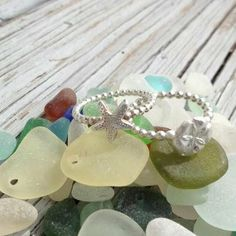 Set of 2 stacking rings--Sand Dollar AND Starfish Ring--Fine Silver and Sterling