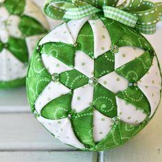 A St. Patrick's Day Kaleidoscope. #ornamentgirlsclub #february2018ornament #kaleidoscopepattern quiltedornament #foldedfabricornaments