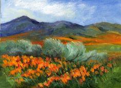 Impressionist Landscape Paintings   Poppy Painting - California impressionist landscape, original painting ...