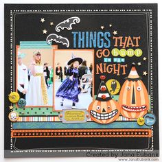 Okay, okay ... I couldn't stop! I have one more Halloween layout to add to other spooky pages I have shared with you this week. :) I had these blurry shots of the girls' Halloween Costume parade fr...