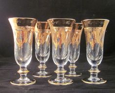 Vintage Hand Blown Water Goblet/Wine Glasses by thelazydogantiques