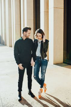 This Oklahoma City engagement session features incredibly cool outfits and modern, urban backdrops that complement them perfectly.