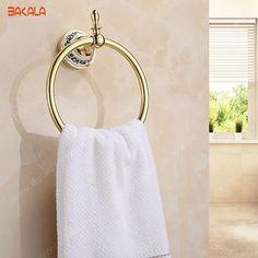 BAKALA Fashionable Space Aluminum Moving Towel Rack towel Rail Towel Rod Towel Ring   BR-5507 #Affiliate