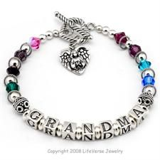 """Family Birthstone Bracelet- Select Name and Colors. We call this """"Grandma's Angels"""" because it has all the colors of to represent her grandchildren and share her family with others. Select any word for the bracelet, such as GRANDMA, MOTHER, AUNT, SISTER or FRIEND. Then select birthstone colors for the people you love. Includes one FREE sterling silver charm. $79.00 handcrafted with Swarovski and Sterling Silver. Give one for #Christmas or #MothersDay it makes a unique and personalized #gift"""