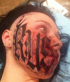 Ruslan Toumaniantz signed his name across his girlfriend's face less than 24 hours after he met her Read more: http://www.dailymail.co.uk/news/article-2273234/Man-tattoos-girlfriends-FACE--met-24-hours-earlier.html#ixzz2K8UNV2oW   Follow us: @MailOnline
