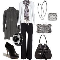 Black n Gray Office Attire, Office Outfits, Work Outfits, Outfit Work, Business Casual Outfits, Business Attire, Casual Work Attire, Business Style, Casual Fridays