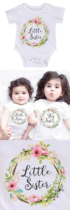 Weixinbuy Baby Girls Sibling Shirts Sisters Matching Clothes Rompers with Shirts