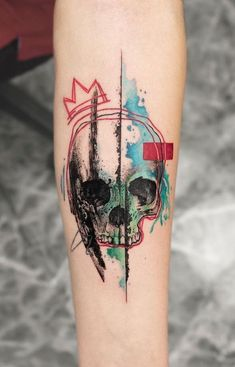 Explosion of colors: beautiful watercolor tattoos by Koray Karagözler - Aq . - Explosion of colors: beautiful watercolor tattoos by Koray Karagözler – watercolor skull tattoo - Colour Tattoo For Women, Cute Tattoos For Women, Tattoos For Guys, Tattoo Women, Skull Tattoos, Life Tattoos, Sleeve Tattoos, Joker Tattoos, Space Tattoos