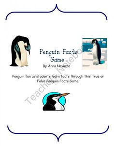 Penguin Facts Game product from Mrs-Navarres-Shop on TeachersNotebook.com