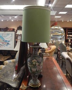 """Moriage Lamp. Green Base with Traditional Chinese Scenery. Sage Green Shade. Measures: 44.25"""" h."""