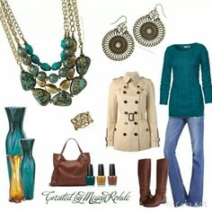 Great fall outfit. Rock It necklace, Nova earrings and Laurel ring.  Premier Designs Jewelry! http://ceciliafunk.mypremierdesigns.com
