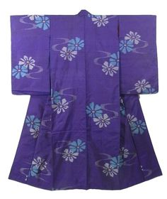 This is a vintage Meisen Kimono with 'Kiku'(chrysanthemum) like flower pattern, which is woven on the stripe of blue purple and purple background