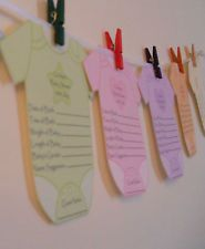 Baby Shower Game-Baby Prediction Clothes Line-18 Guests