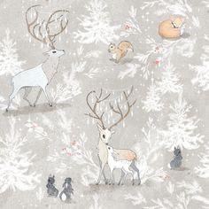Vintage Woodland Christmas (SMALL) custom fabric by nouveau_bohemian for sale on Spoonflower