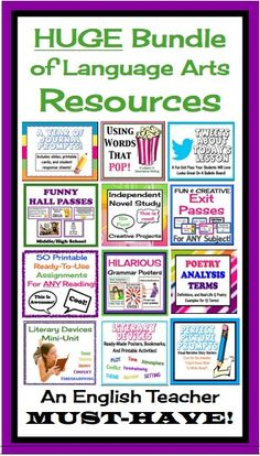 TONS of English Resources that will make your life easier!  Your students will LOVE them :)
