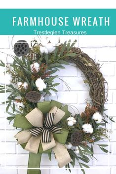 This is a beautiful Fall Farmhouse wreath that will look stunning on any front door or as a indoor wreath. It can be hung in the living room, over the fireplace, or in the entryway. It's no too soon to start planing your Fall Decor Deco Mesh Wreaths, Fall Wreaths, Christmas Wreaths, Farmhouse Bedroom Decor, Country Farmhouse Decor, Farmhouse Style, Front Door Decor, Wreaths For Front Door, Front Porch