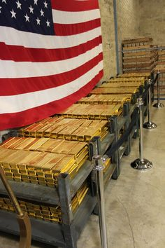 Gold Bars Stacked in Vault at West Point Mint, Left Side Gold Bullion Bars, Bullion Coins, Gold Reserve, Money Stacks, Gold Money, Vaulting, Gold Coins, Precious Metals, Wealth