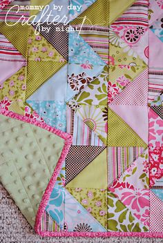 zig zag quilt (5x5's cut into triangles & sewn back together then pieced to create the zig zag)  w/ simple quilting