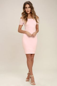 You're sure to get more than a handful of numbers over the course of a night spent in the Me Oh My Blush Pink Off-the-Shoulder Bodycon Dress! Darted knit bodice and fitted skirt meet short, off-the-shoulder sleeves with no-slip strips.