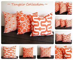 Orange pillow cover 20 x 20 ONE cushion cover by ThePillowPeople, $18.00