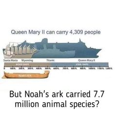 Ark size v QEII … Whichever way you look at it - it's a joke to even consider any truth to this fable.