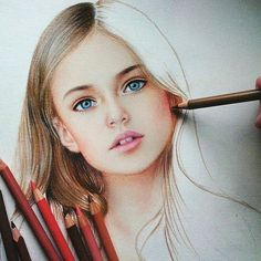 Colored pencil piece by marat_artColored pencil piece by tag and share if you love art!Discover The Secrets Of Drawing Realistic Pencil Portraits - Colored pencil piece byDrawing Pencil Portraits - I honestly successfully fast painted this one and it Portrait Au Crayon, L'art Du Portrait, Colored Pencil Portrait, Color Pencil Art, Coloured Pencil Drawings, Amazing Drawings, Realistic Drawings, Beautiful Drawings, Colorful Drawings