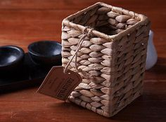 NATURALS Woven Water Hyacinth KITCHEN UTENSILS CADDY Cutlery Holder