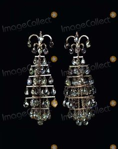 Supplied by Alpha 049546 01/11/02 Pair of 'Chandelier' Earrings -'the Jewels of Jar' the Gilbert Collection, Somerset House Alpha/Globe Photos Inc